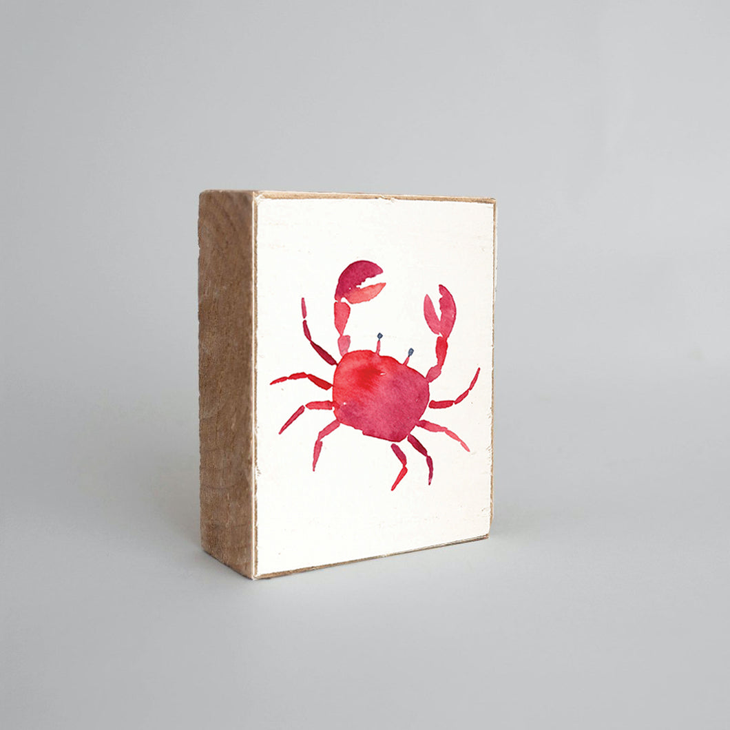 Watercolor Crab Decorative Wooden Block