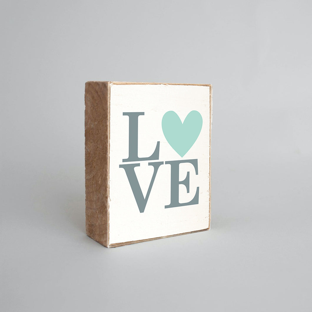 Stacked Love Heart Decorative Wooden Block