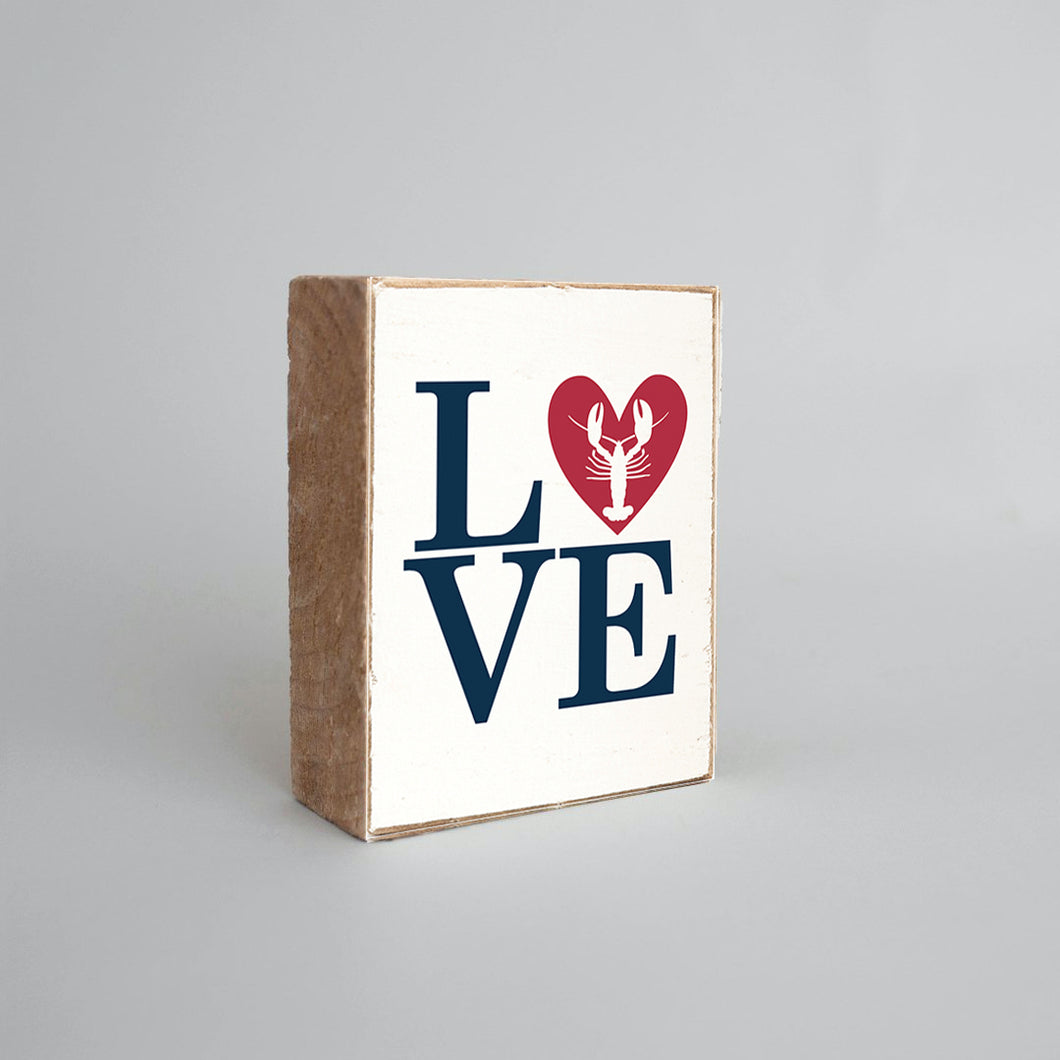 Stacked Love Lobster Decorative Wooden Block