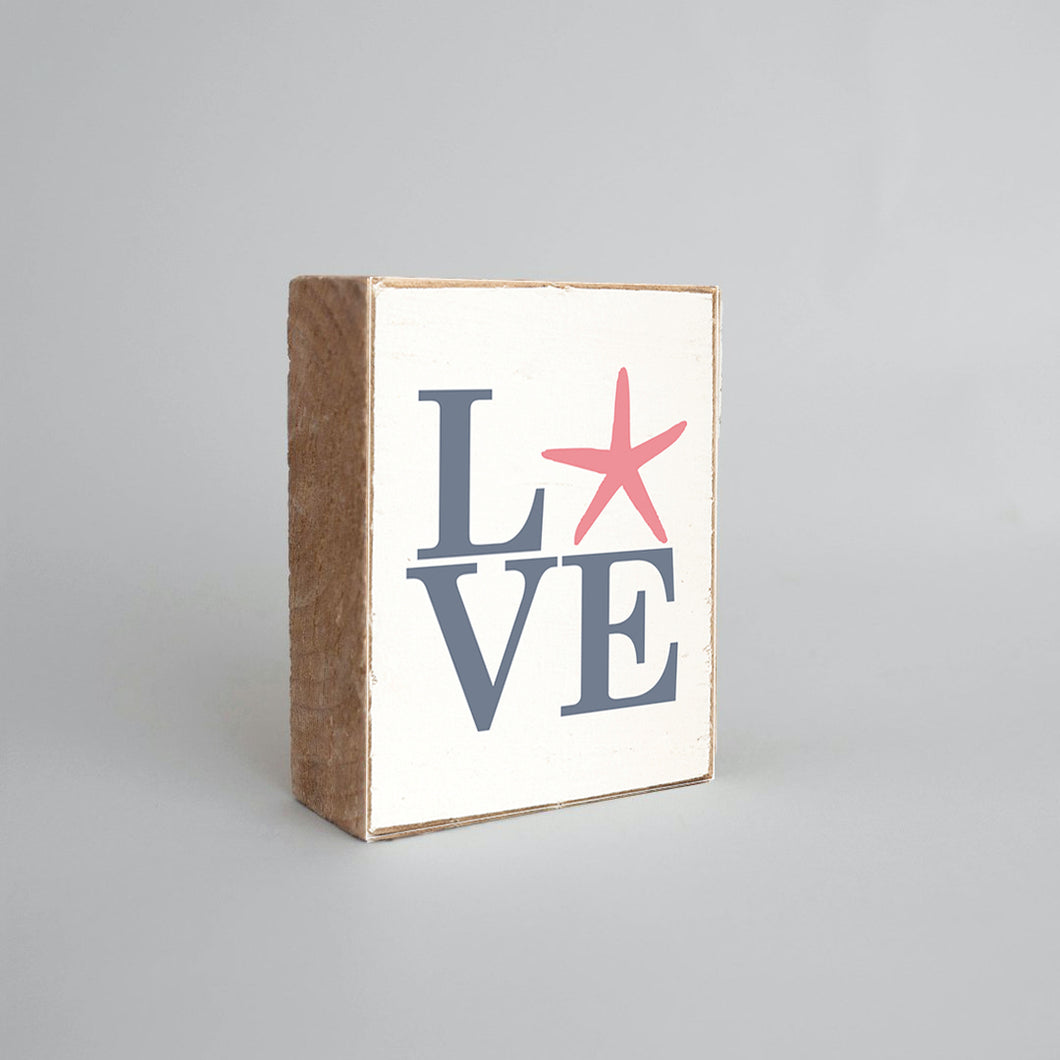 Stacked Love Starfish Decorative Wooden Block