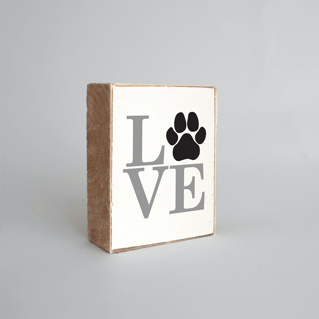 Stacked Love Paw Print Decorative Wooden Block