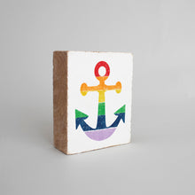 Load image into Gallery viewer, Rainbow Anchor Decorative Wooden Block
