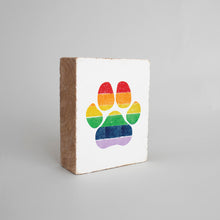 Load image into Gallery viewer, Rainbow Paw Print Decorative Wooden Block