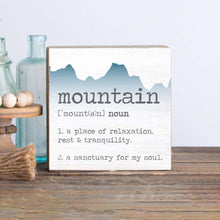 Load image into Gallery viewer, Mountain Definition Decorative Wooden Block