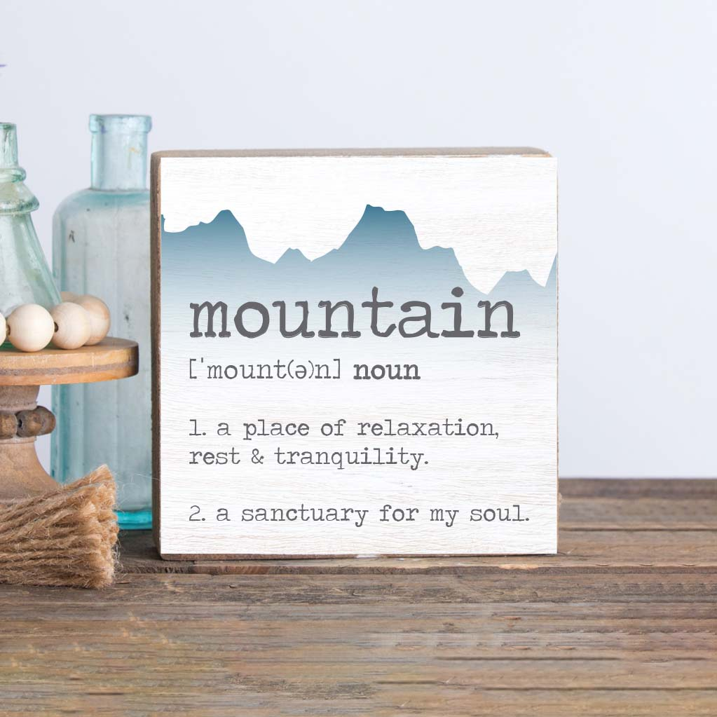 Mountain Definition Decorative Wooden Block