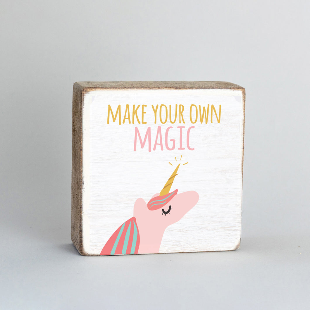 Unicorn Magic Decorative Wooden Block