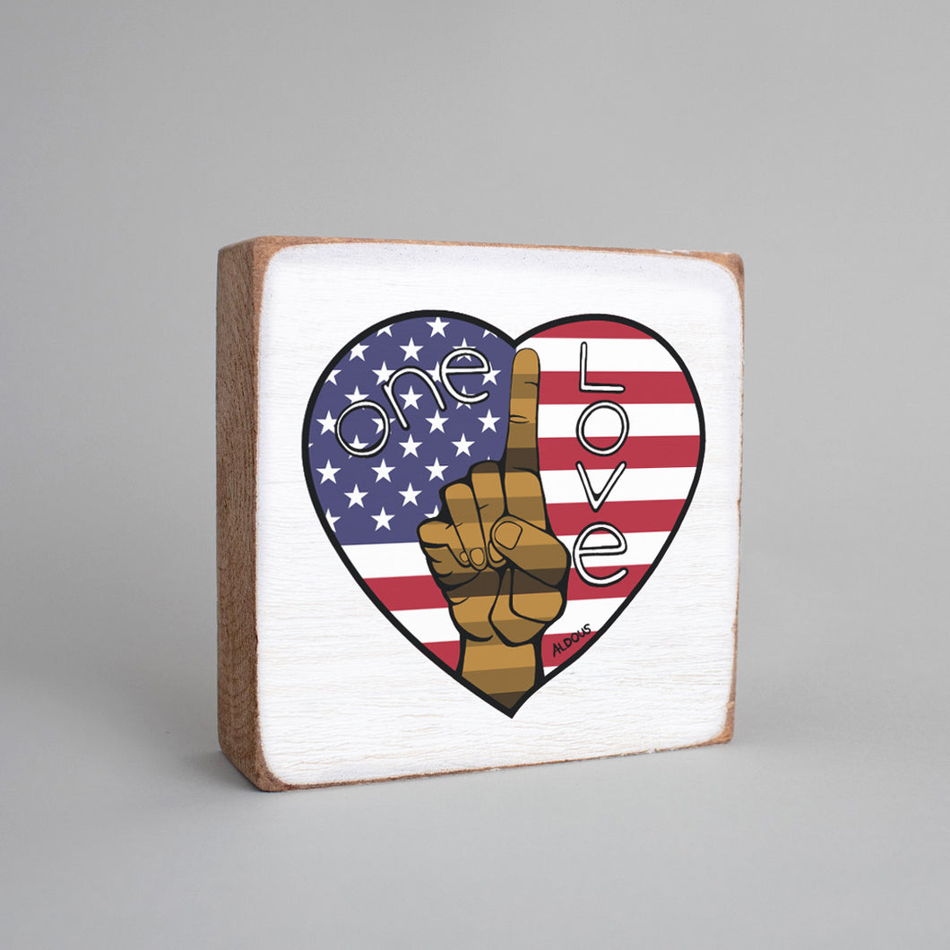 One Love Flag Heart Decorative Wooden Block