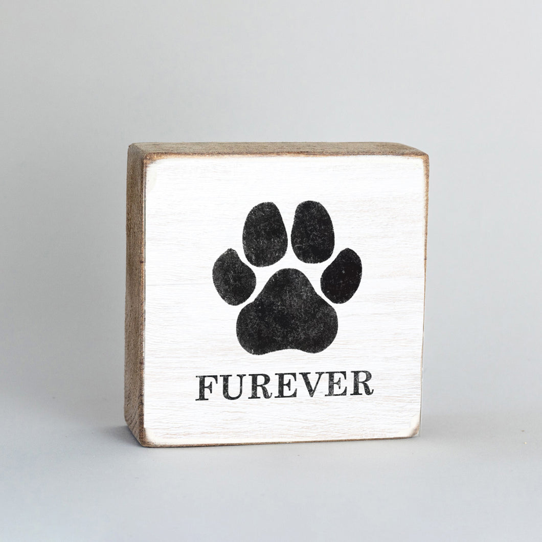 Personalized Paw Print Rustic Block