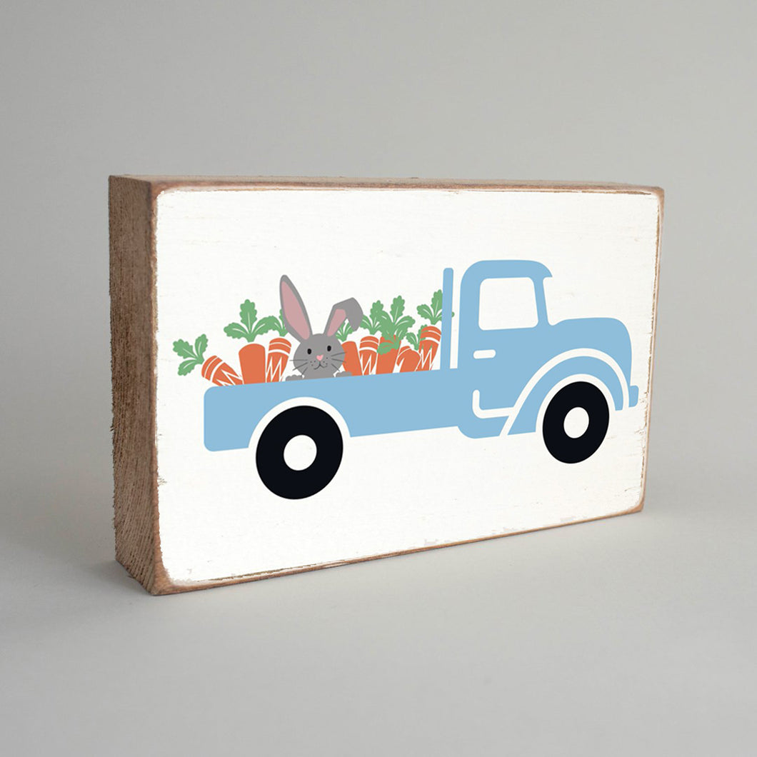 Bunny Truck Decorative Wooden Block