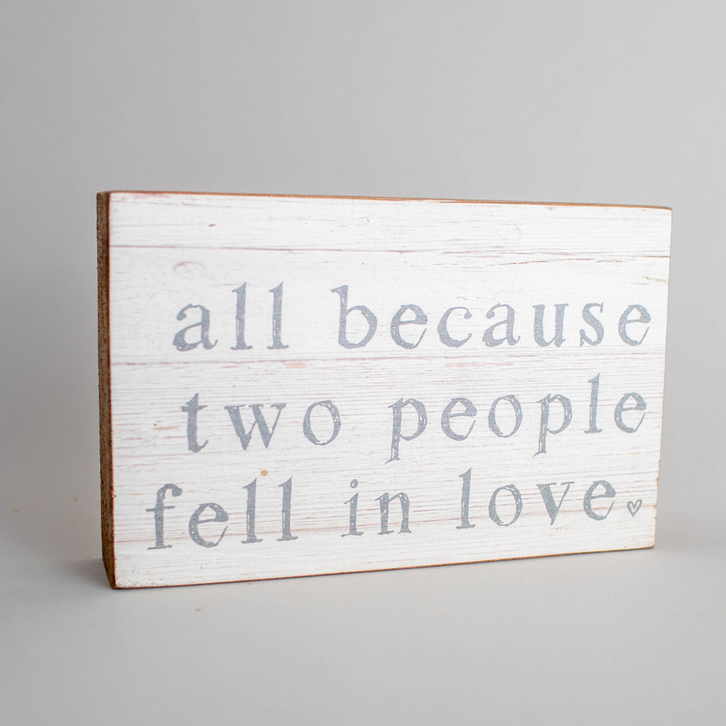 Two People Fell In Love Decorative Wooden Block