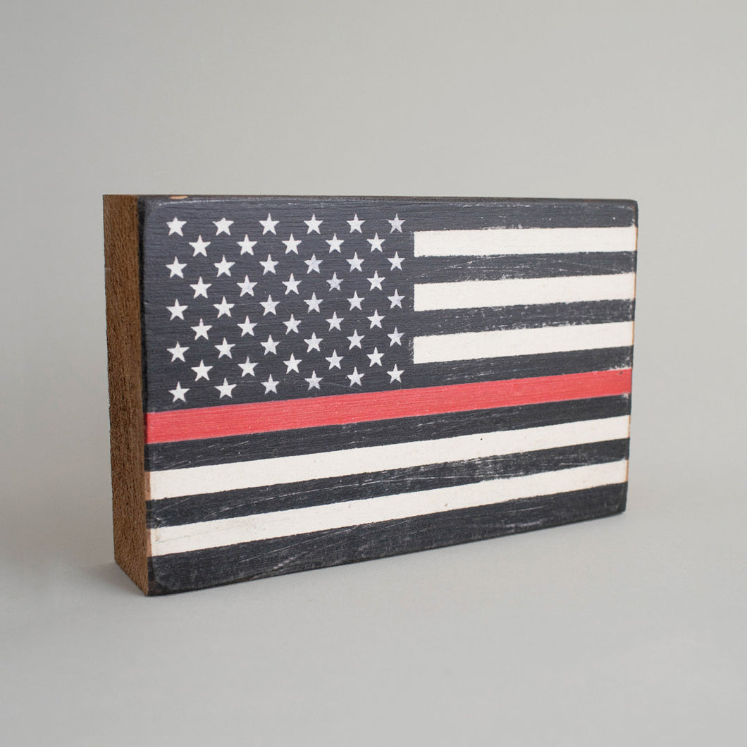 Red Line Flag Decorative Wooden Block