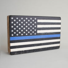 Load image into Gallery viewer, Blue Line Flag Decorative Wooden Block