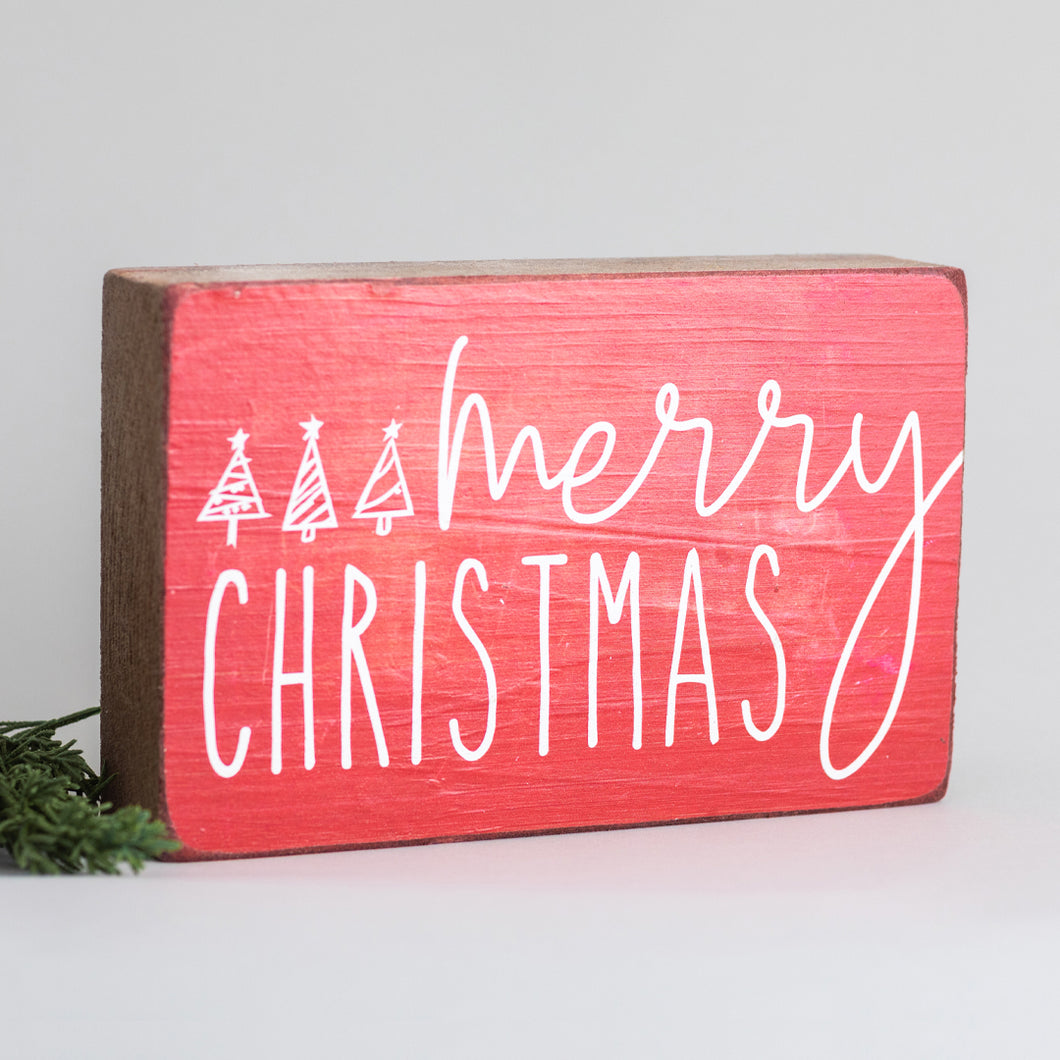 Merry Christmas Decorative Wooden Block