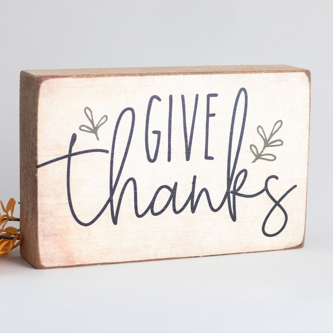 Give Thanks Decorative Wooden Block