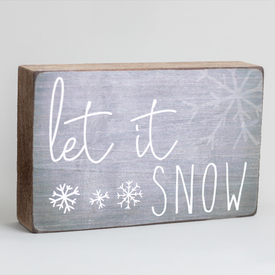Let It Snow Decorative Wooden Block