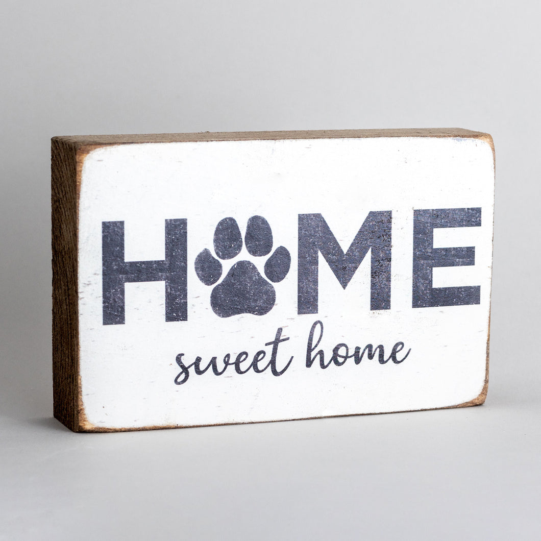 Home Sweet Home Paw Print Decorative Wooden Block