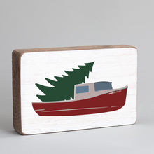 Load image into Gallery viewer, Tree Lobster Boat Decorative Wooden Block