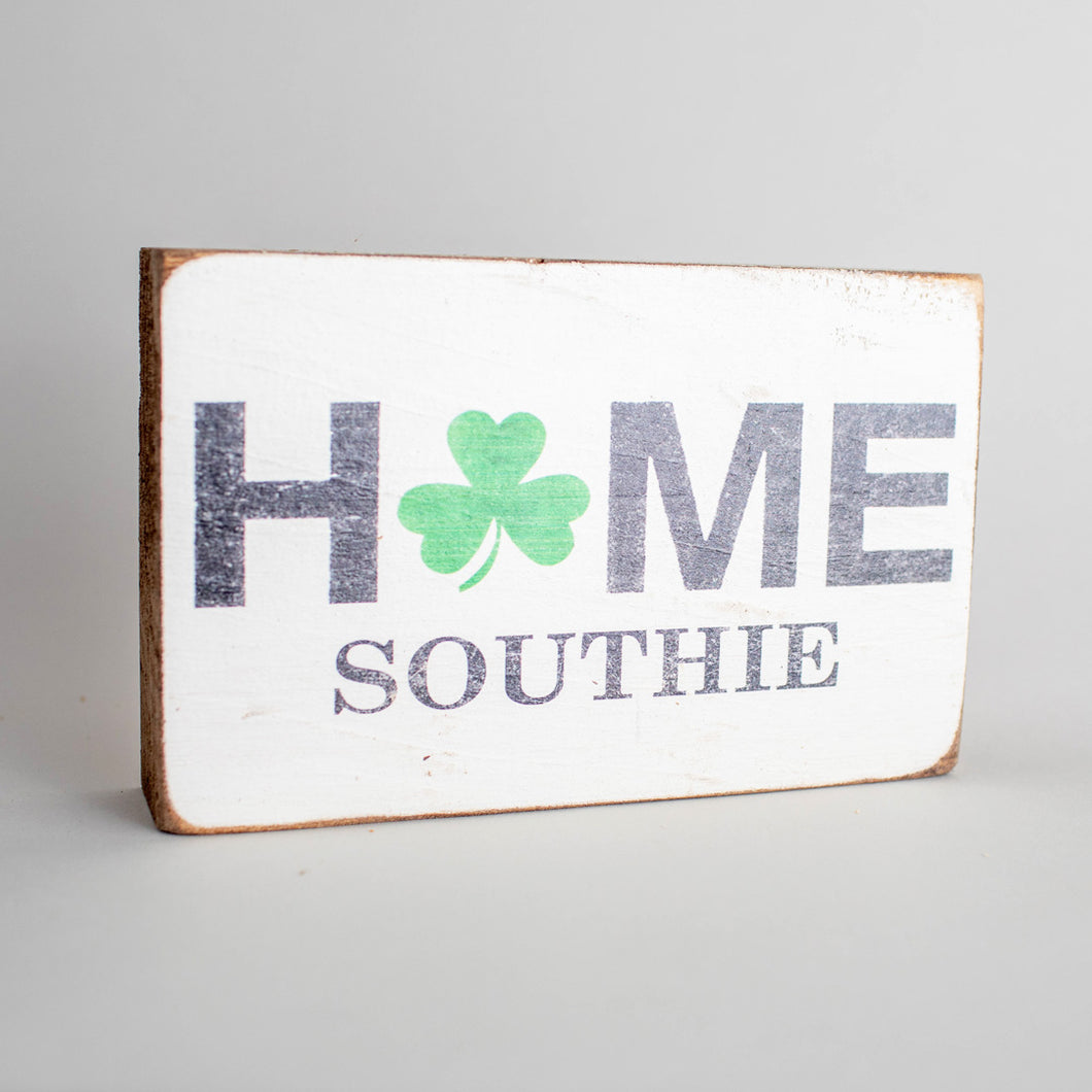 Personalized Home Shamrock Decorative Wooden Block
