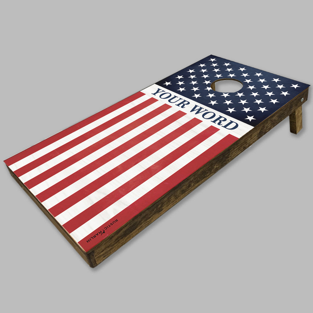 Personalized Vertical 50 Stars Flag Cornhole Game Set
