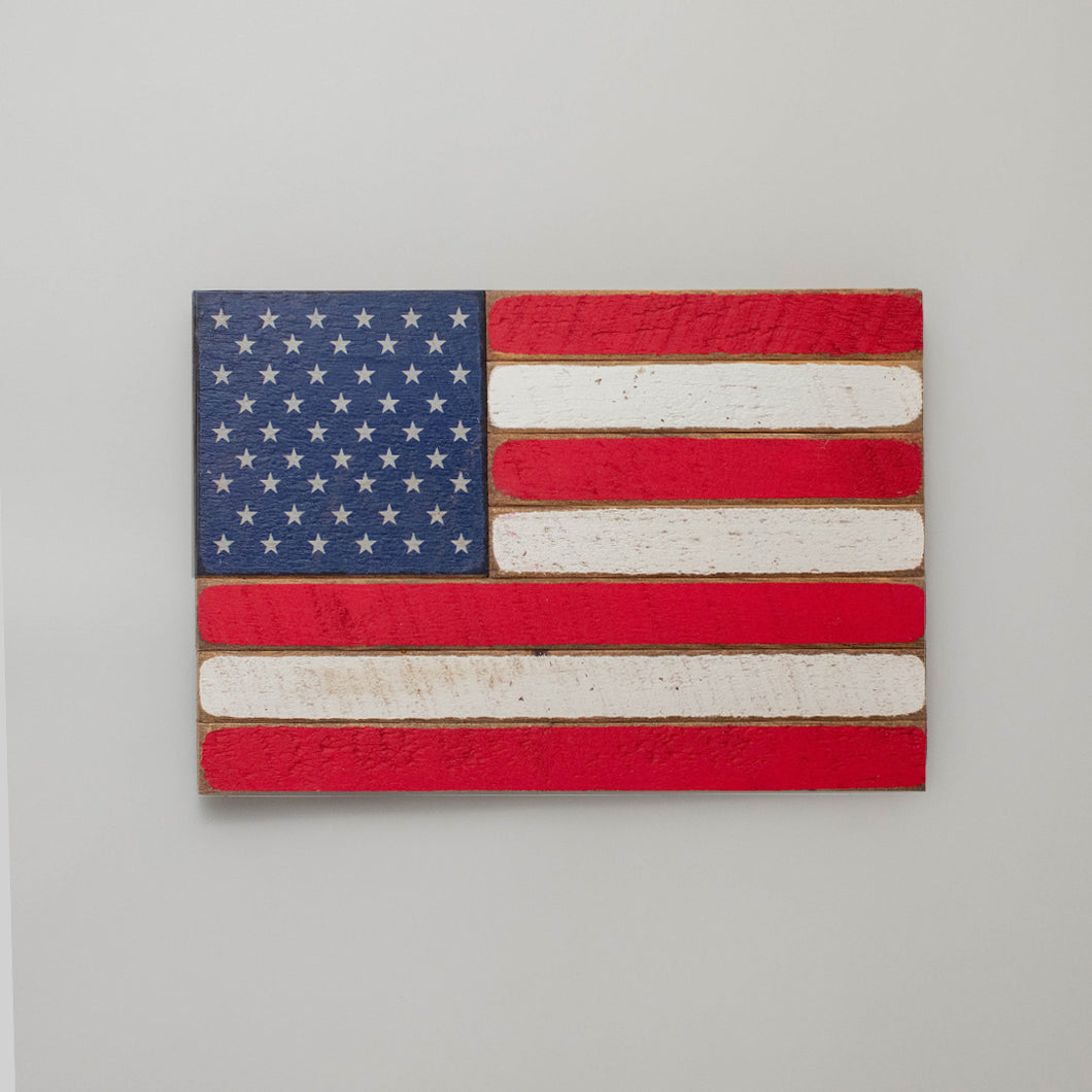 50 Stars Wooden American Flag
