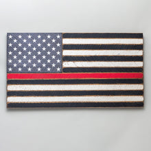 Load image into Gallery viewer, Thin Red Line Wooden American Flag