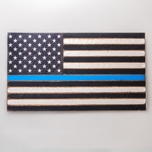 Load image into Gallery viewer, Thin Blue Line Wooden American Flag