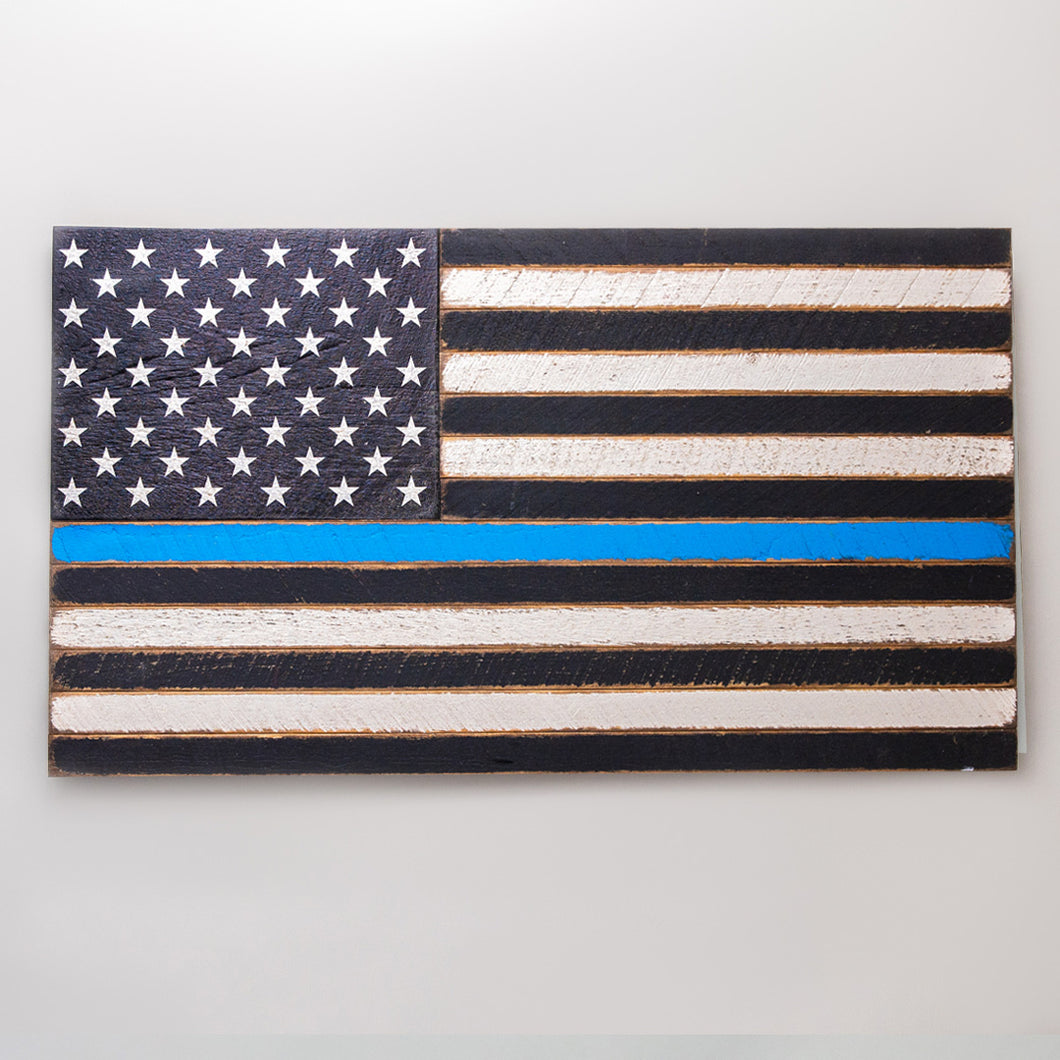 Thin Blue Line Wooden American Flag