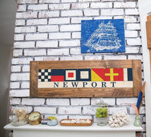 Load image into Gallery viewer, Nautical Flags Spell out Coastal Vacation Town Wooden Home Decor
