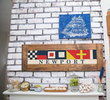 Nautical Flags Spell out Coastal Vacation Town Wooden Home Decor