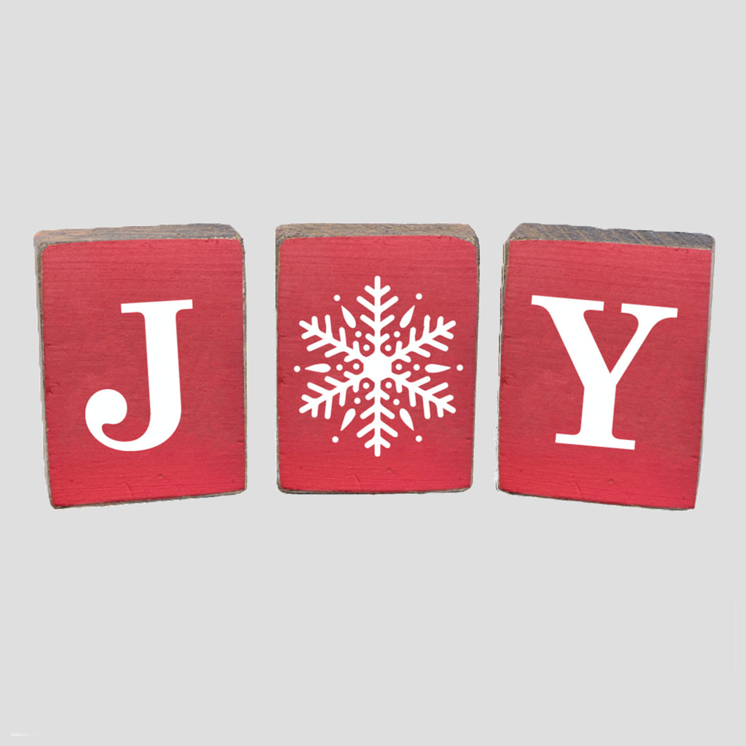 Joy Snowflake Rustic Block Bundle