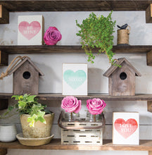 Load image into Gallery viewer, Love You Heart Decorative Wooden Block