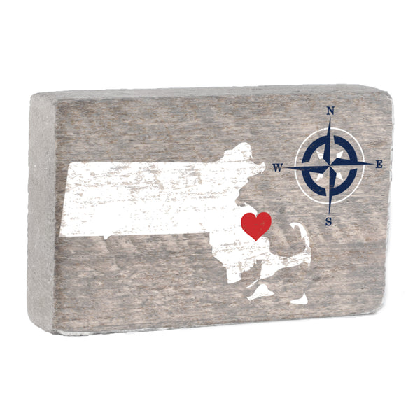 Personalized Hometown Compass XL Rustic Block