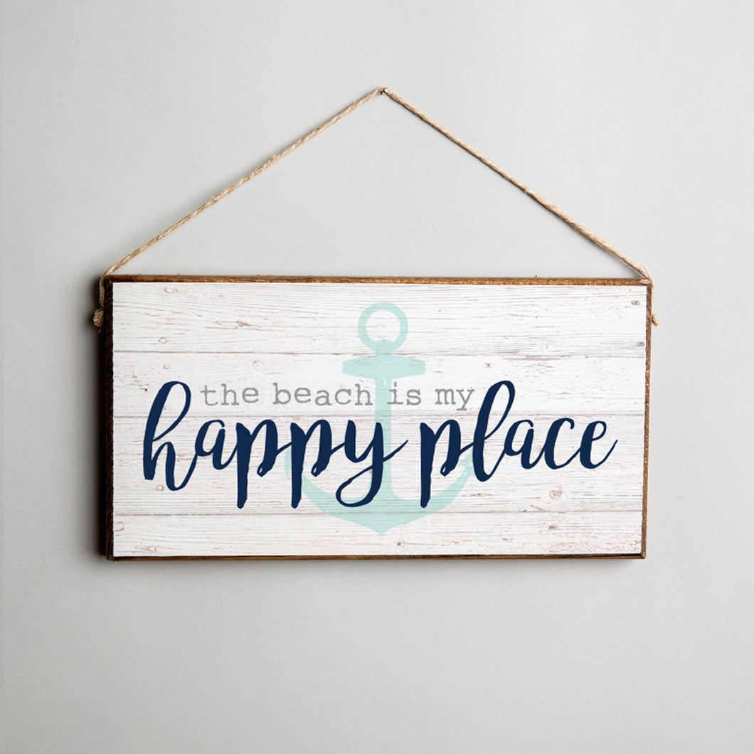 Beach Is My Happy Place Twine Hanging Sign