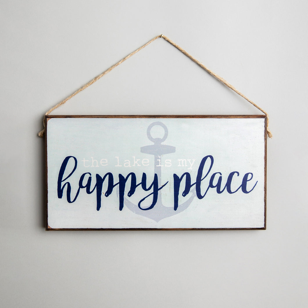 Lake Is My Happy Place Twine Hanging Sign