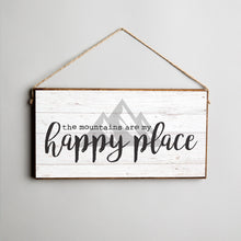 Load image into Gallery viewer, Mountains Are My Happy Place Twine Hanging Sign