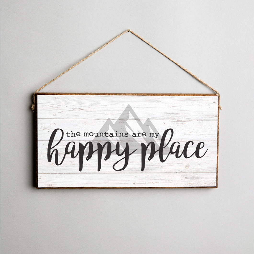 Mountains Are My Happy Place Twine Hanging Sign