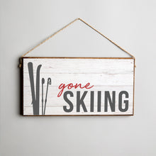 Load image into Gallery viewer, Gone Skiing Twine Hanging Sign