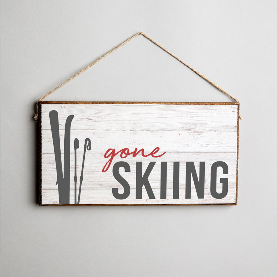 Gone Skiing Twine Hanging Sign