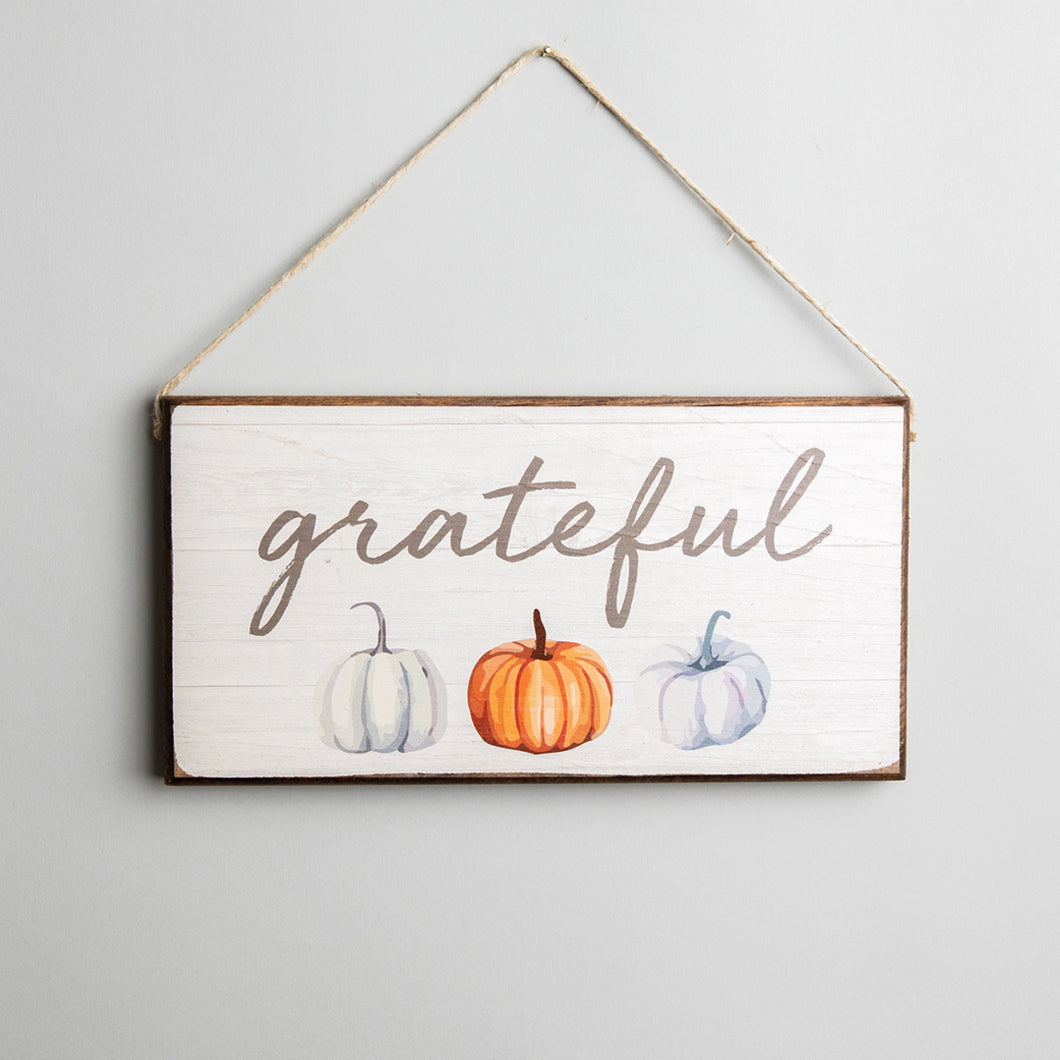 Grateful Twine Hanging Sign