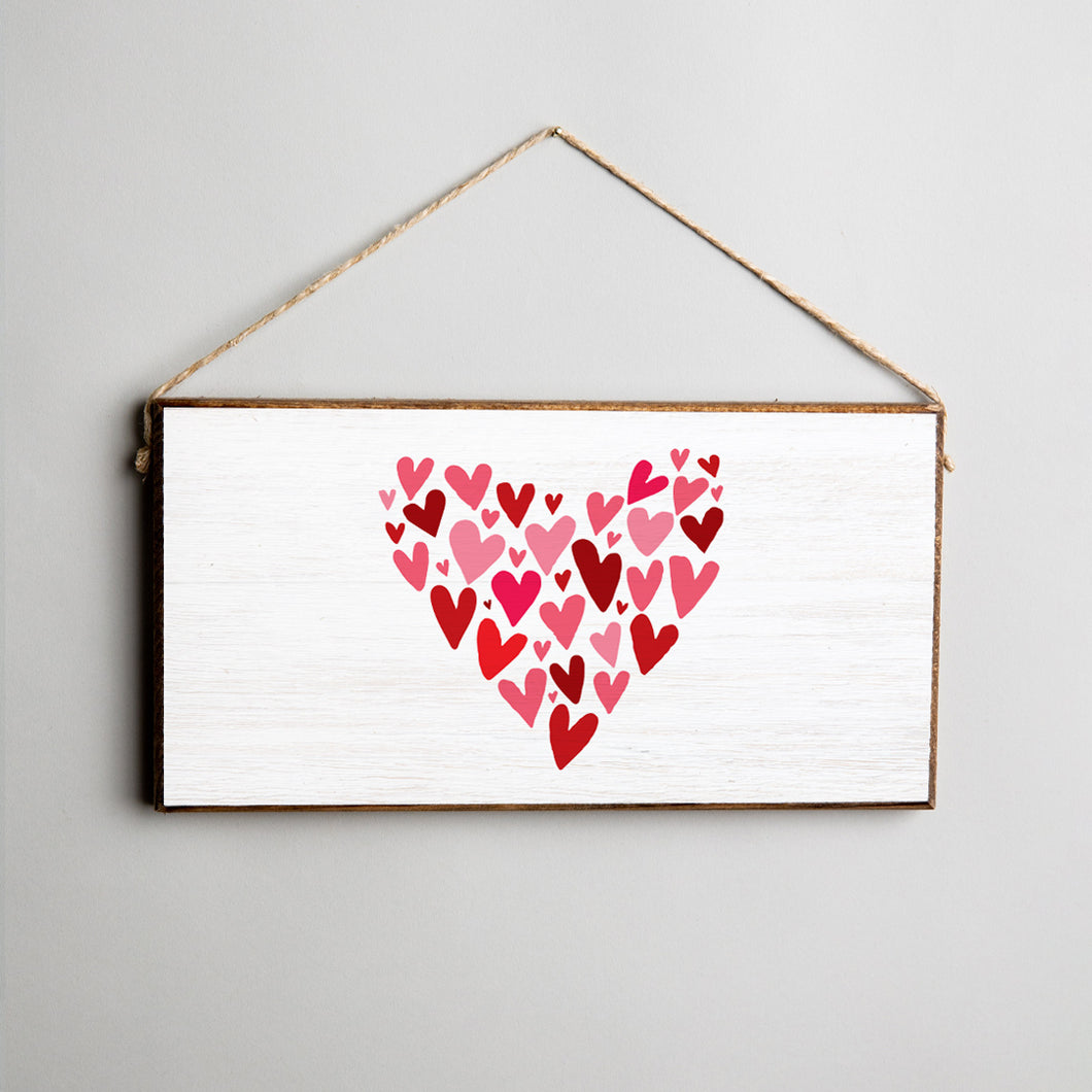 Mosaic Heart Twine Hanging Sign