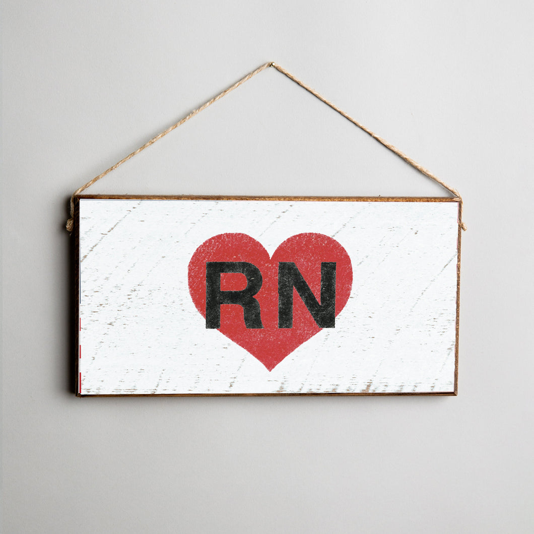 RN Red Heart Twine Hanging Sign