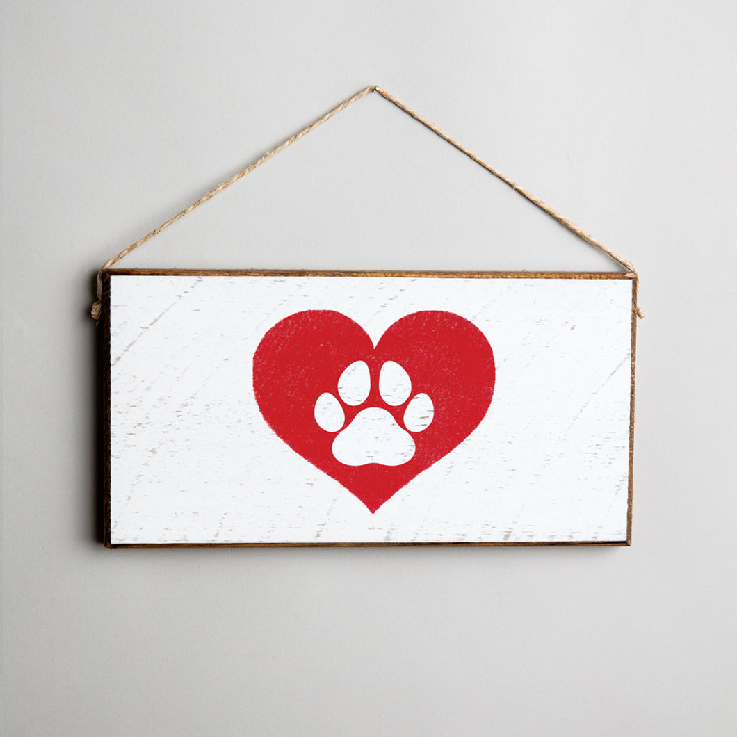 Paw Heart Twine Hanging Sign