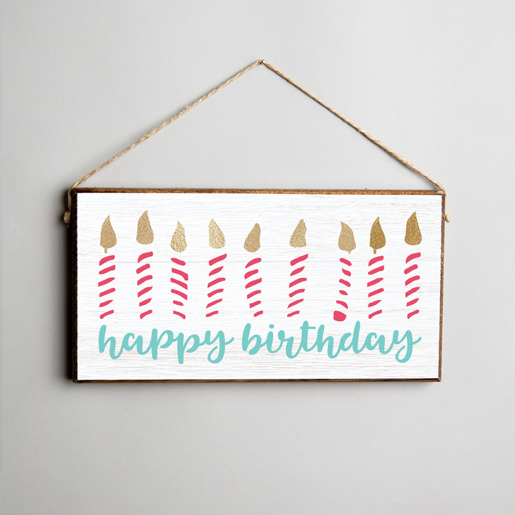 Happy Birthday Twine Hanging Sign