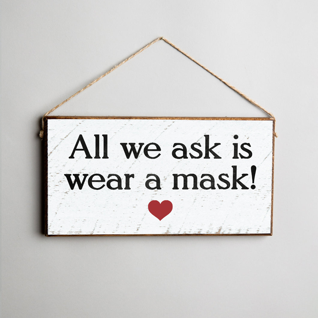 Wear A Mask Twine Hanging Sign