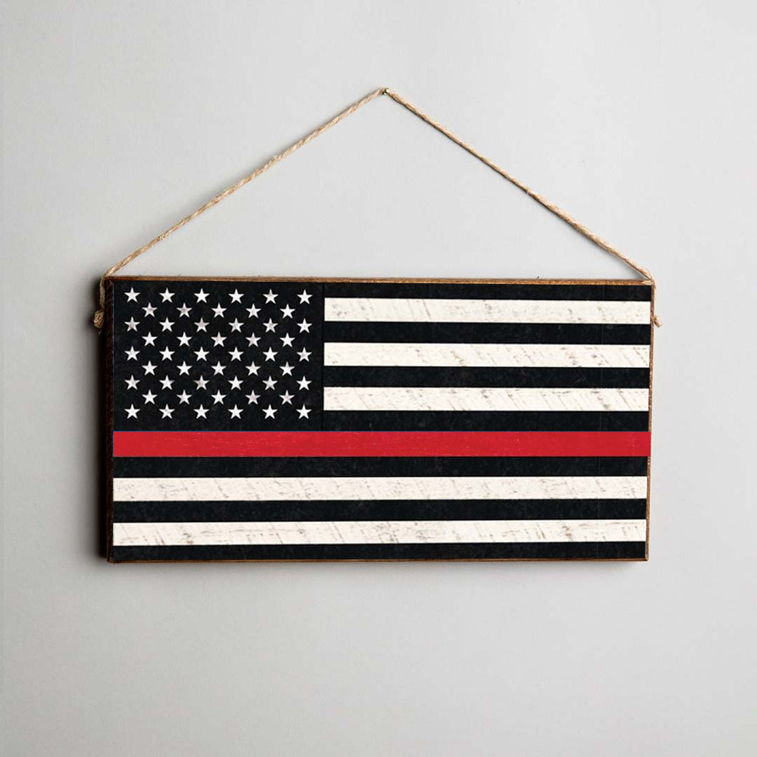 Thin Red Line Flag Twine Hanging Sign