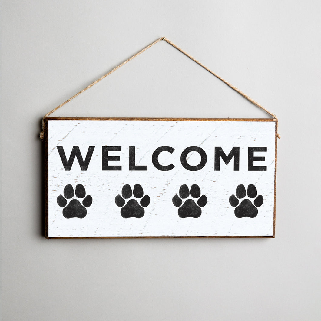 Welcome Paw Print Twine Hanging Sign