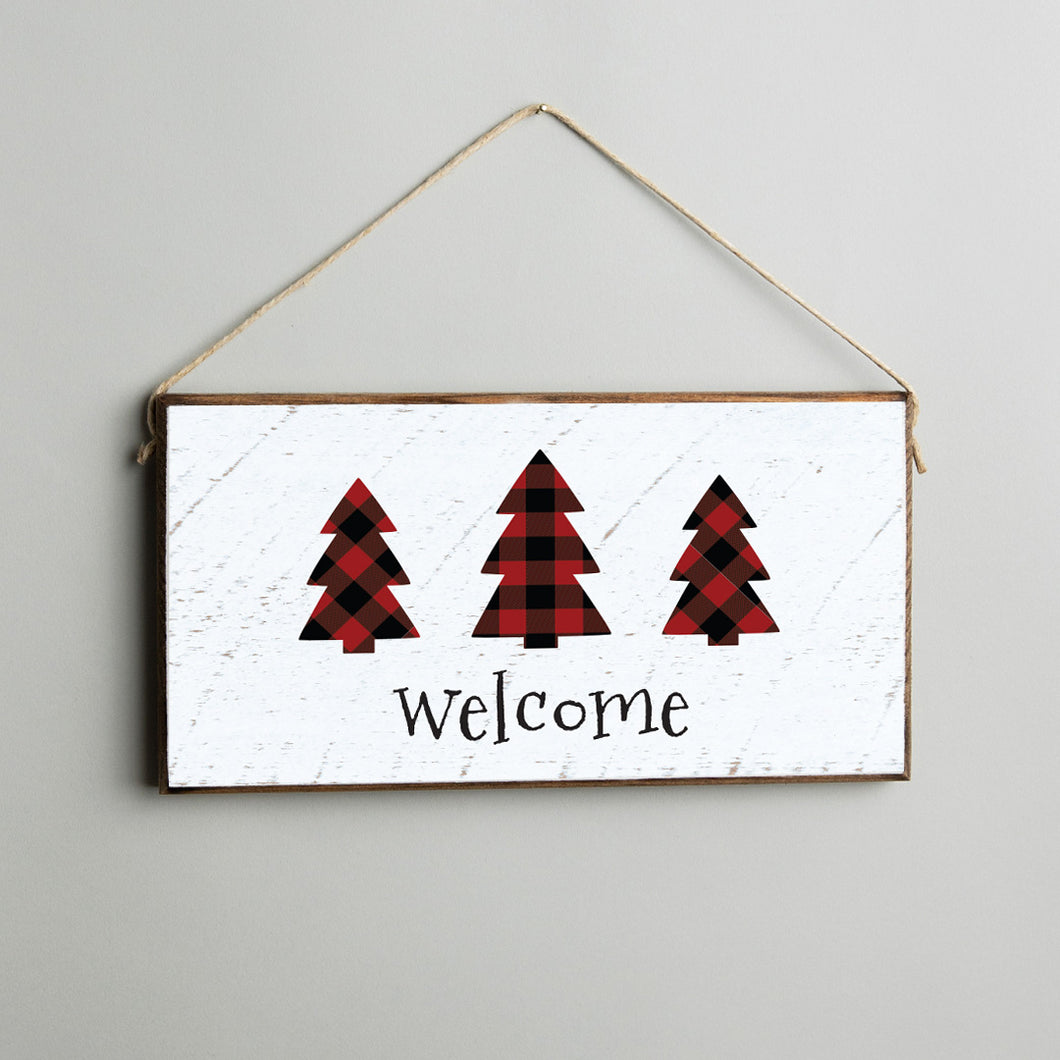 Welcome Plaid Trees Twine Hanging Sign