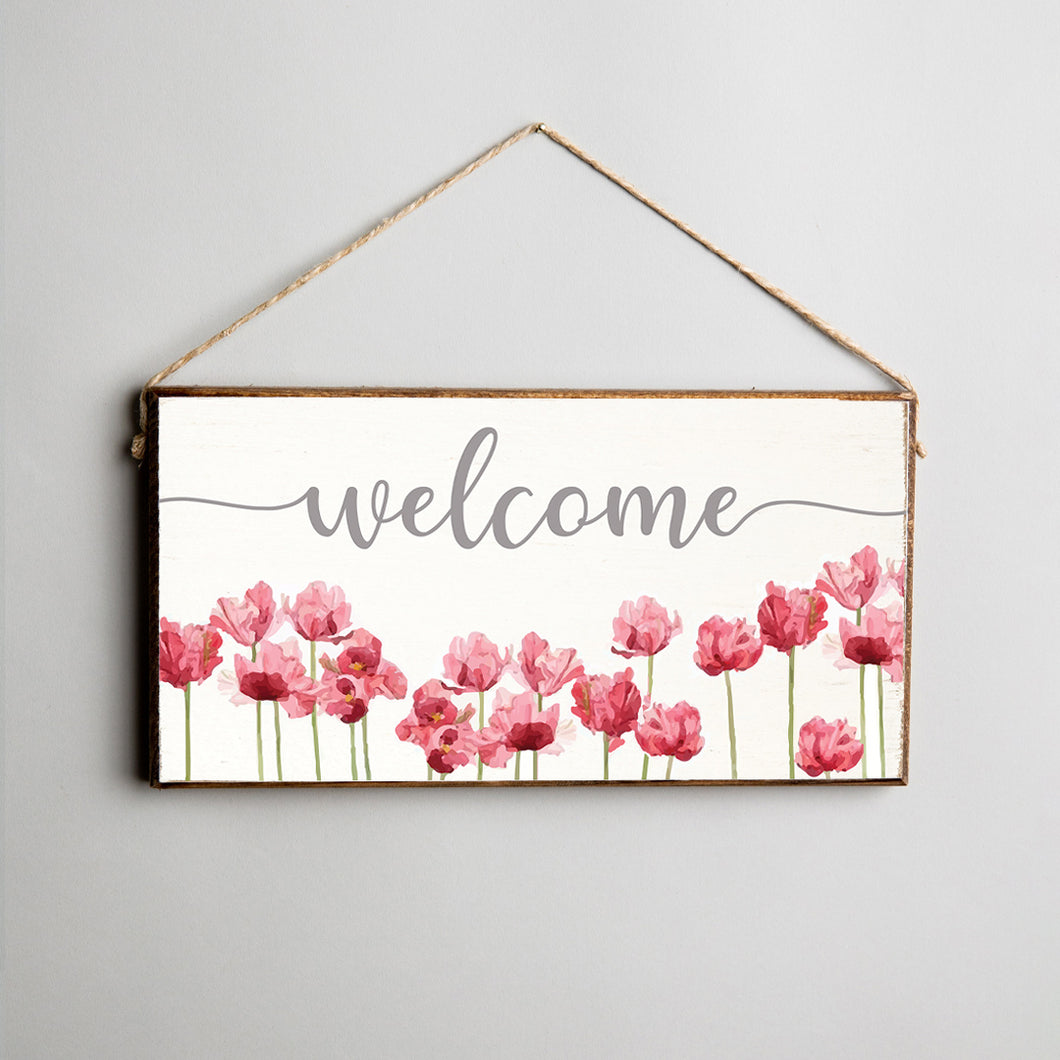 Welcome Flowers Twine Hanging Sign