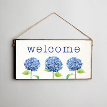 Load image into Gallery viewer, Welcome Hydrangea Twine Hanging Sign