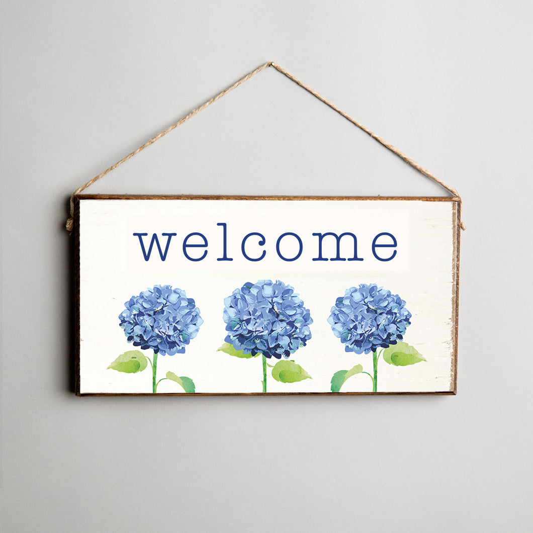 Welcome Hydrangea Twine Hanging Sign